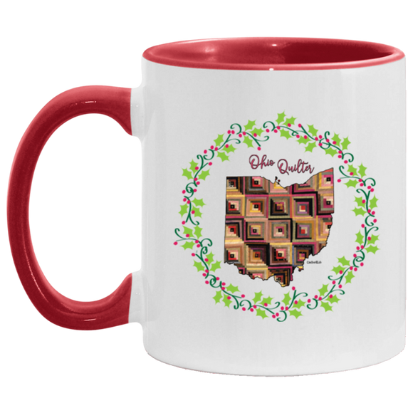 Ohio Quilter Christmas Accent Mug