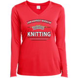 I Am Happiest When I'm Knitting Ladies Long Sleeve V-neck Tee - Crafter4Life - 8