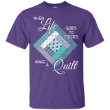 Make a Quilt (turquoise) Custom Ultra Cotton T-Shirt - Crafter4Life - 11