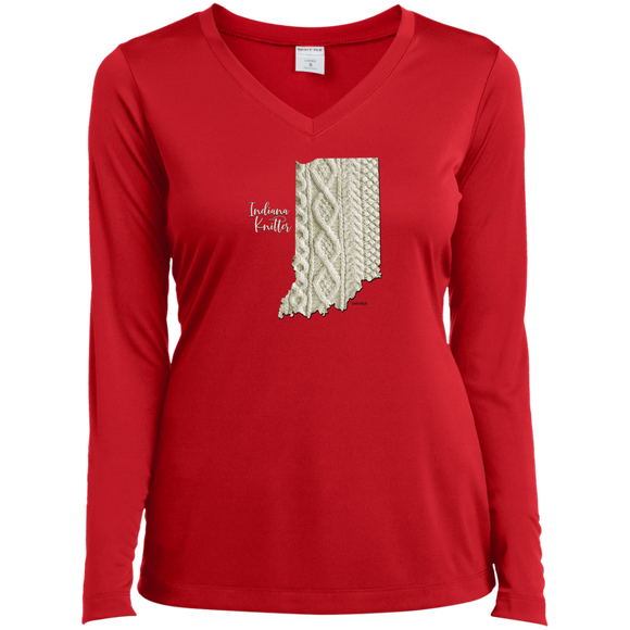 Indiana Knitter Ladies' LS Performance V-Neck Shirt
