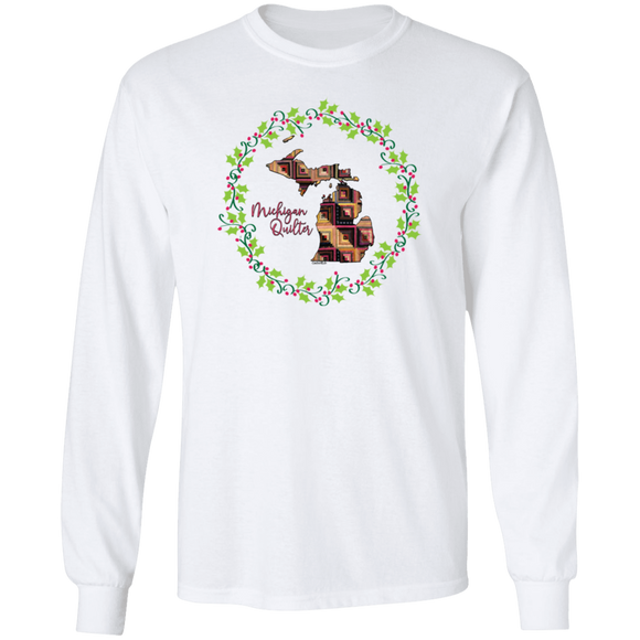 Michigan Quilter Christmas LS Ultra Cotton T-Shirt