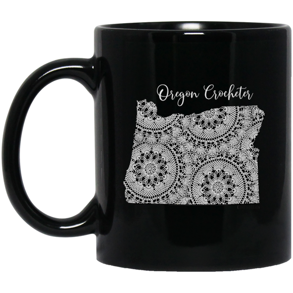 Oregon Crocheter Black Mugs