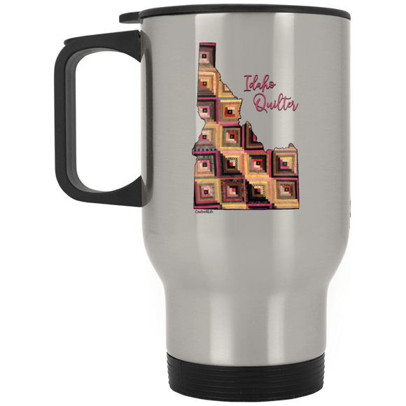 Idaho Quilter Silver Stainless Travel Mug