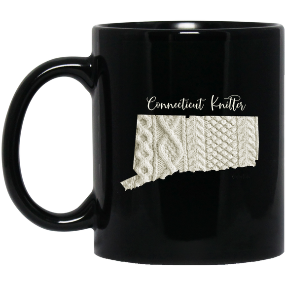 Connecticut Knitter Black Mugs