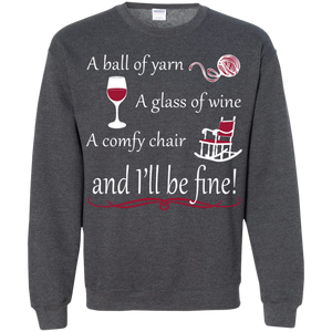 A Ball of Yarn a Glass of Wine Pullover Sweatshirt - Crafter4Life