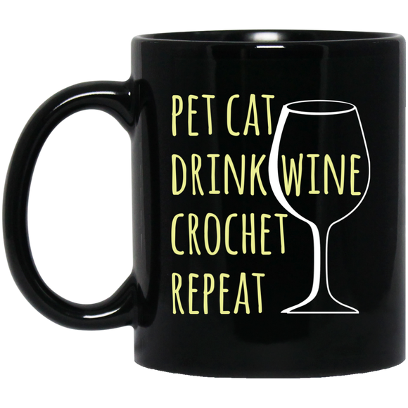 Pet Cat-Drink Wine-Crochet Black Mugs