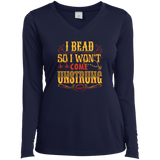 I Bead So I Won't Come Unstrung (gold) Ladies Long Sleeve V-neck Tee - Crafter4Life - 3