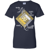 Make a Quilt (yellow) Ladies Custom 100% Cotton T-Shirt - Crafter4Life - 9