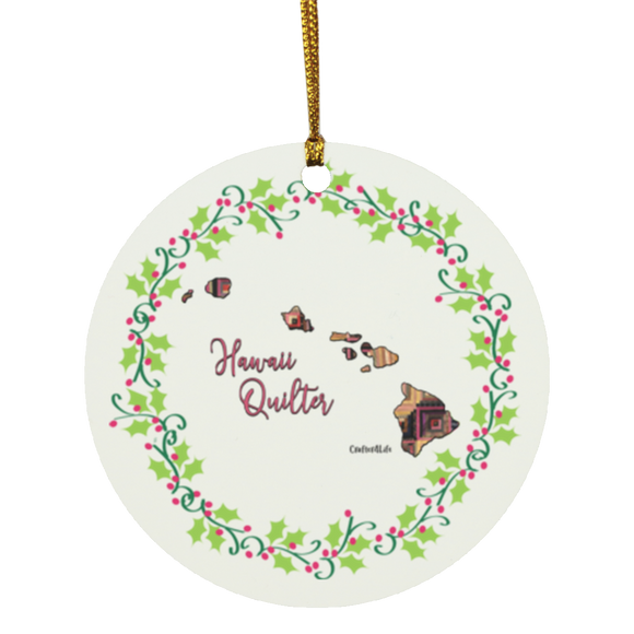 Hawaii Quilter Christmas Circle Ornament