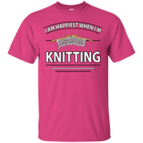 I Am Happiest When I'm Knitting Custom Ultra Cotton T-Shirt - Crafter4Life - 5