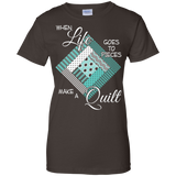 Make a Quilt (turquoise) Ladies Custom 100% Cotton T-Shirt - Crafter4Life - 4