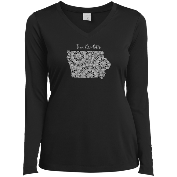 Iowa Crocheter Ladies' LS Performance V-Neck Shirt