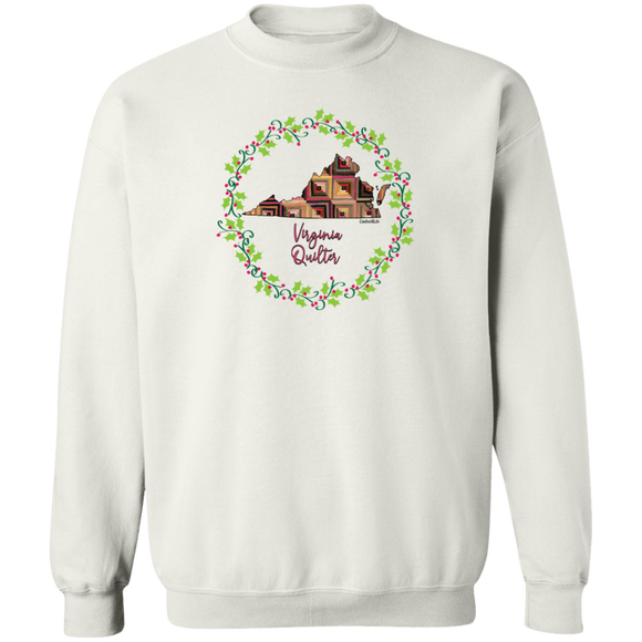 Virginia Quilter Christmas Crewneck Pullover Sweatshirt
