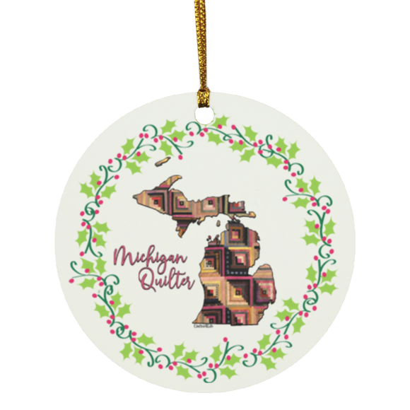 Michigan Quilter Christmas Circle Ornament