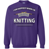 I Am Happiest When I'm Knitting Crewneck Sweatshirts - Crafter4Life - 7