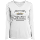 I Am Happiest When I'm Knitting Ladies Long Sleeve V-neck Tee - Crafter4Life - 2