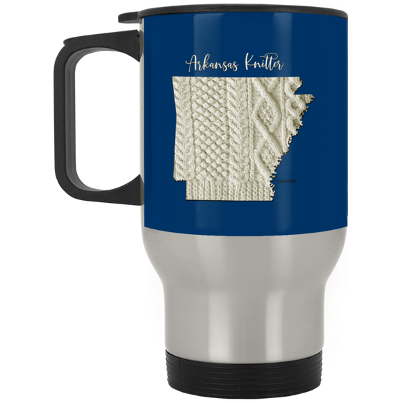 Arkansas Knitter Silver Stainless Travel Mug