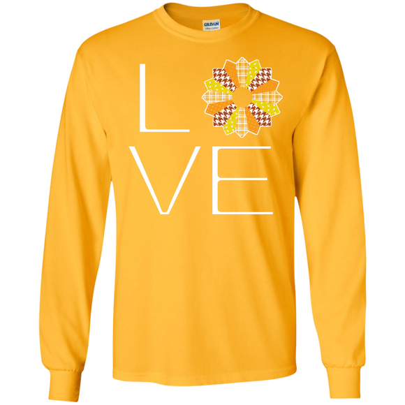 LOVE Quilting (Fall Colors) Long Sleeve Ultra Cotton T-Shirt - Crafter4Life - 1