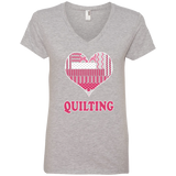 Heart Quilting Ladies V-neck Tee - Crafter4Life - 1