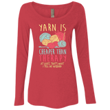 Yarn is Cheaper than Therapy Ladies Triblend LS Scoop