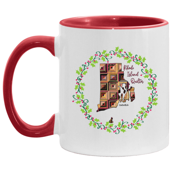 Rhode Island Quilter Christmas Accent Mug