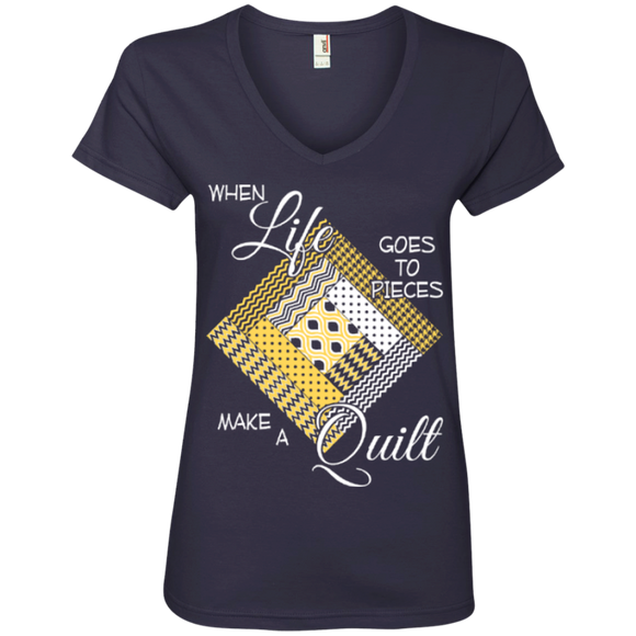 Make a Quilt (yellow) Ladies V-Neck Tee - Crafter4Life - 1