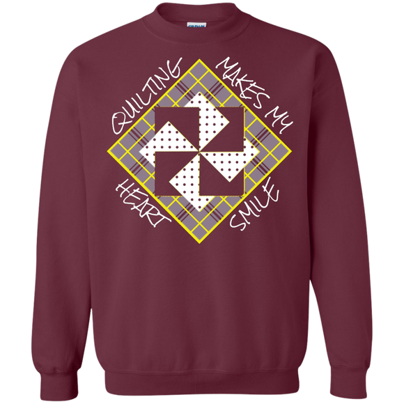 Quilting Makes My Heart Smile Crewneck Sweatshirt