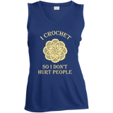I Crochet So I Don't Hurt People Ladies Sleeveless V-neck - Crafter4Life - 1