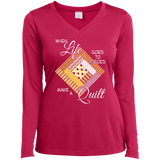 Make a Quilt (yellow) Ladies Long Sleeve V-neck Tee - Crafter4Life - 3