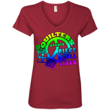 Quilters Create Piece Full Lives Ladies V-neck Tee - Crafter4Life - 5