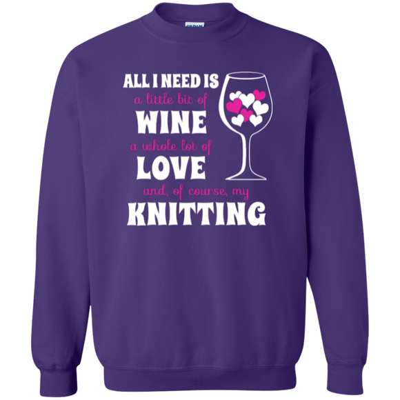 All I Need is Wine-Love-Knitting Crewneck Sweatshirt - Crafter4Life - 1