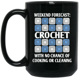 Weekend Forecast Crochet Black Mugs