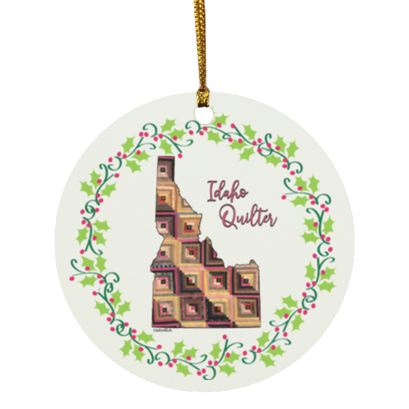 Idaho Quilter Christmas Circle Ornament