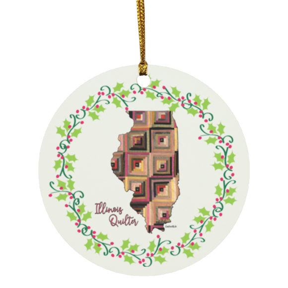 Illinois Quilter Christmas Circle Ornament