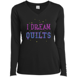 I Dream Quilts Long Sleeve V-neck Tee - Crafter4Life - 2