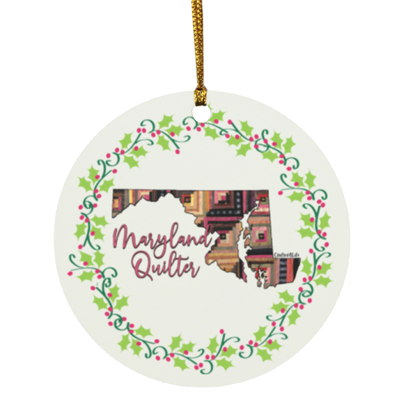 Maryland Quilter Christmas Circle Ornament