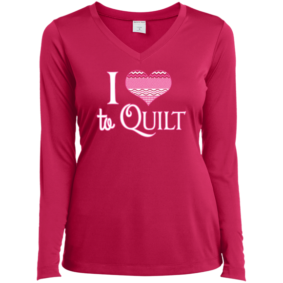 I Heart to Quilt Ladies Long Sleeve V-neck Tee - Crafter4Life - 1