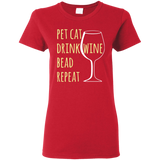 Pet Cat-Drink Wine-Bead Ladies T-Shirt