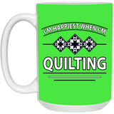 I'm Happiest When I'm Quilting White Mugs