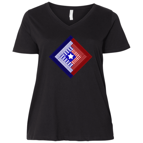 Patriotic Log Cabin Square Ladies Curvy Full-Figure T-Shirts