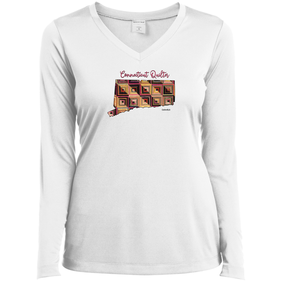 Connecticut Quilter Ladies' LS Performance V-Neck Shirt