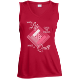 Make a Quilt (pink) Ladies Sleeveless V-Neck - Crafter4Life - 4