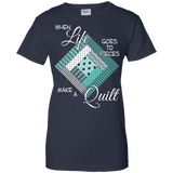Make a Quilt (turquoise) Ladies Custom 100% Cotton T-Shirt - Crafter4Life - 9
