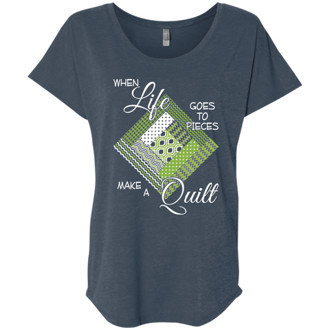 Make a Quilt (Greenery) Ladies' Triblend Dolman Sleeve