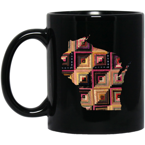Wisconsin Quilter Black Mugs