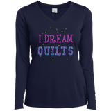 I Dream Quilts Long Sleeve V-neck Tee - Crafter4Life - 3