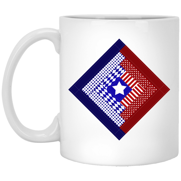 Patriotic Log Cabin Square White Mugs