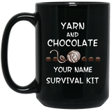 Yarn and Chocolate Survival Kit - Personalized Black Mugs