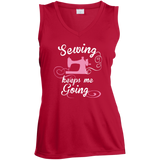 Sewing Keeps Me Going Ladies Sleeveless V-Neck - Crafter4Life - 5