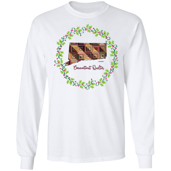 Connecticut Quilter Christmas LS Ultra Cotton T-Shirt